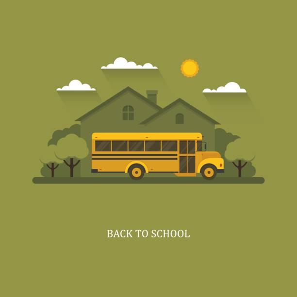 ilustrações, clipart, desenhos animados e ícones de ônibus escolar com casa suburbana em um fundo. - ônibus escolares