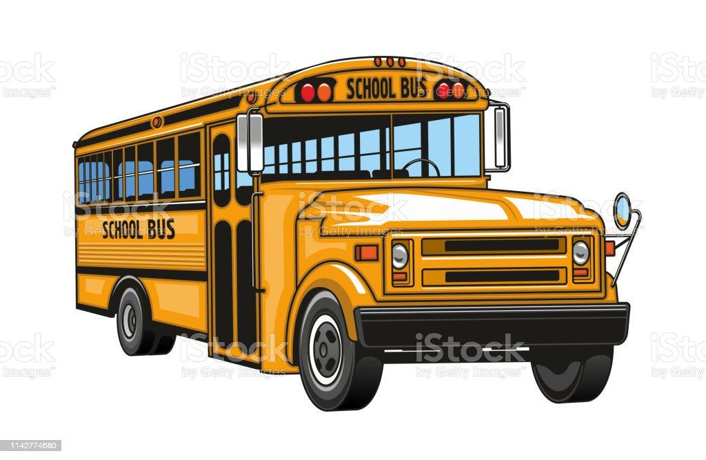 Autobus Scolaire Jaune Véhicule De Dessin Animé Vecteurs