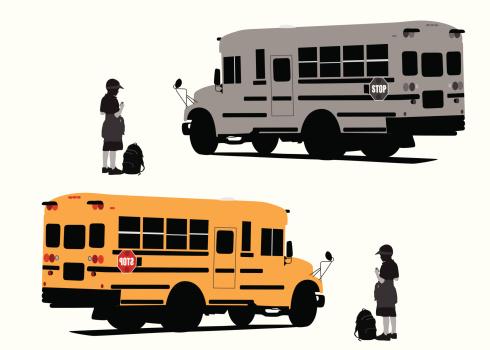 School Busing Vector Silhouette