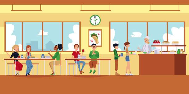 illustrazioni stock, clip art, cartoni animati e icone di tendenza di school cafeteria interior with cartoon children eating food and lunch lady pouring soupprint - banchi scuola