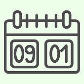 School calendar line icon. Calendar with first of September date outline style pictogram on white background. Day of knowledge dating symbol for mobile concept and web design. Vector graphics