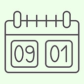 School calendar thin line icon. Calendar with first of September date outline style pictogram on white background. Day of knowledge dating symbol for mobile concept and web design. Vector graphics