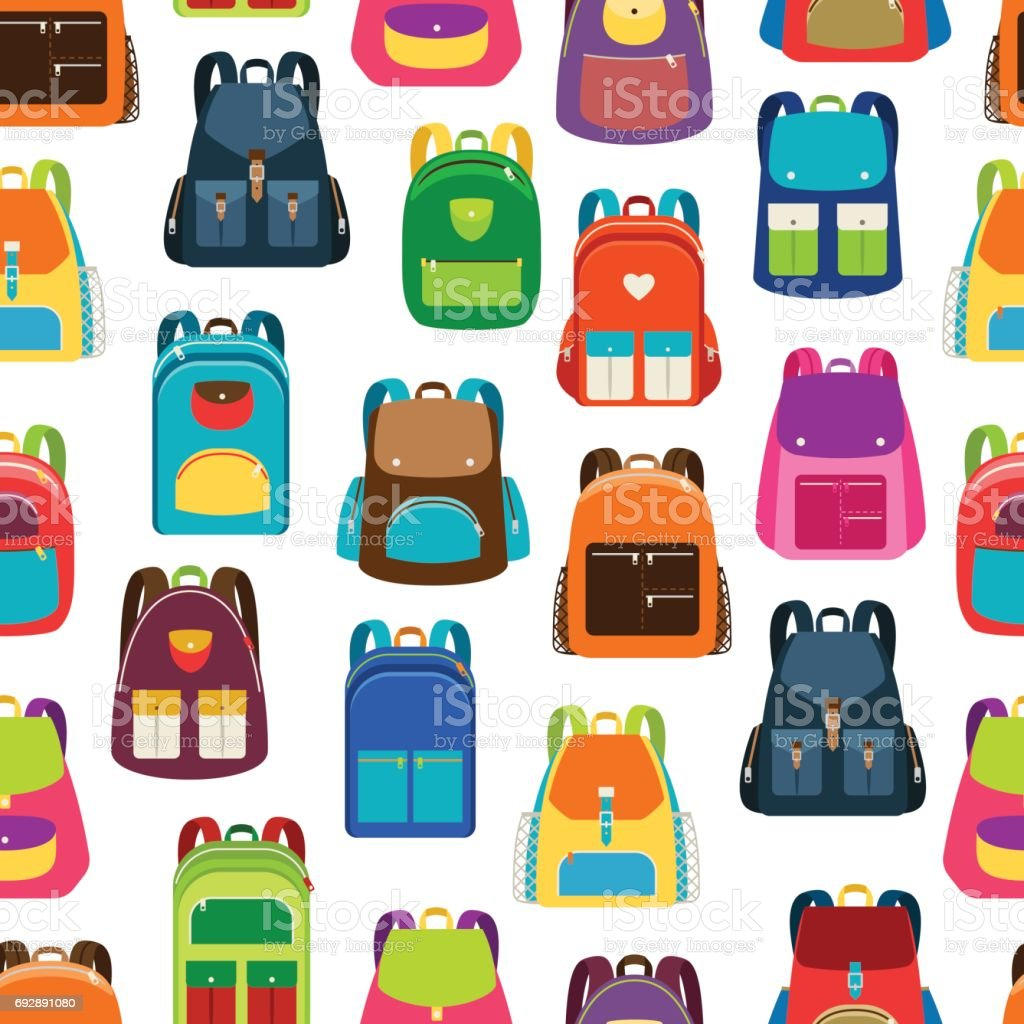 School cartoon pattern with colorful backpacks векторная иллюстрация
