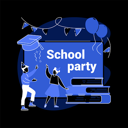 School celebration party abstract concept vector illustration.