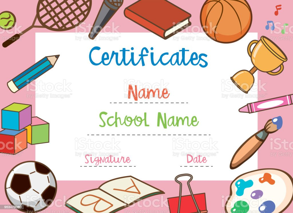 A School Certificate Template Stock Vector Art More Images Of