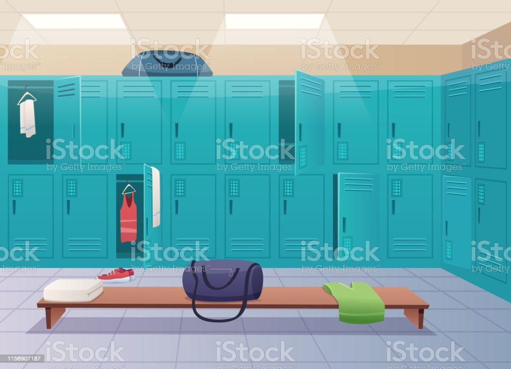 School changing room. College gym sport lockers changing room...