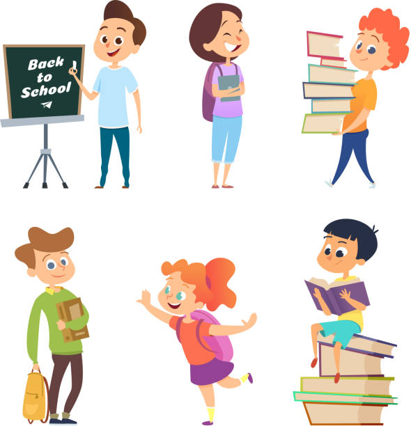School characters. Male and female children go to school School characters. Male and female children go to school. Boy and girl character, child education, pupil and student, vector illustration elementary age stock illustrations