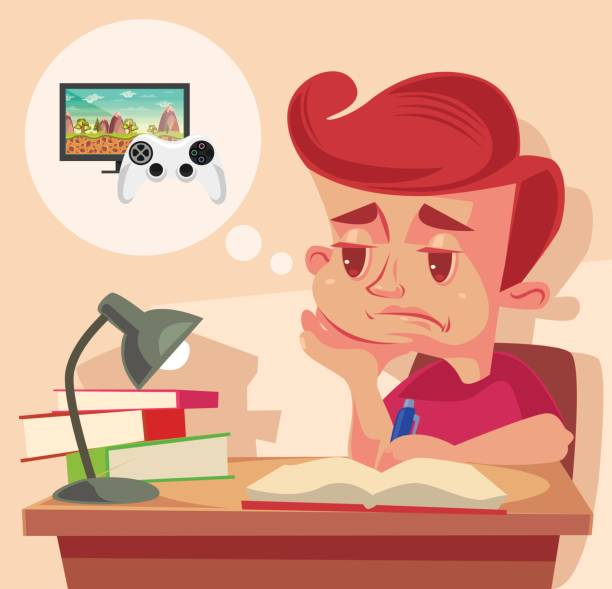 School child character do not want to do homework vector art illustration