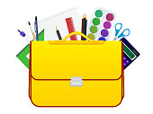 School children bag with accessories for study