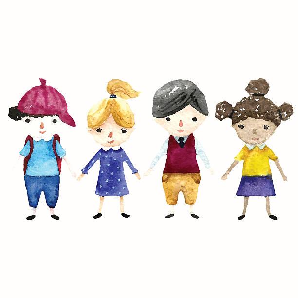 schulkind illustration. - kindergesichtsfarben stock-grafiken, -clipart, -cartoons und -symbole