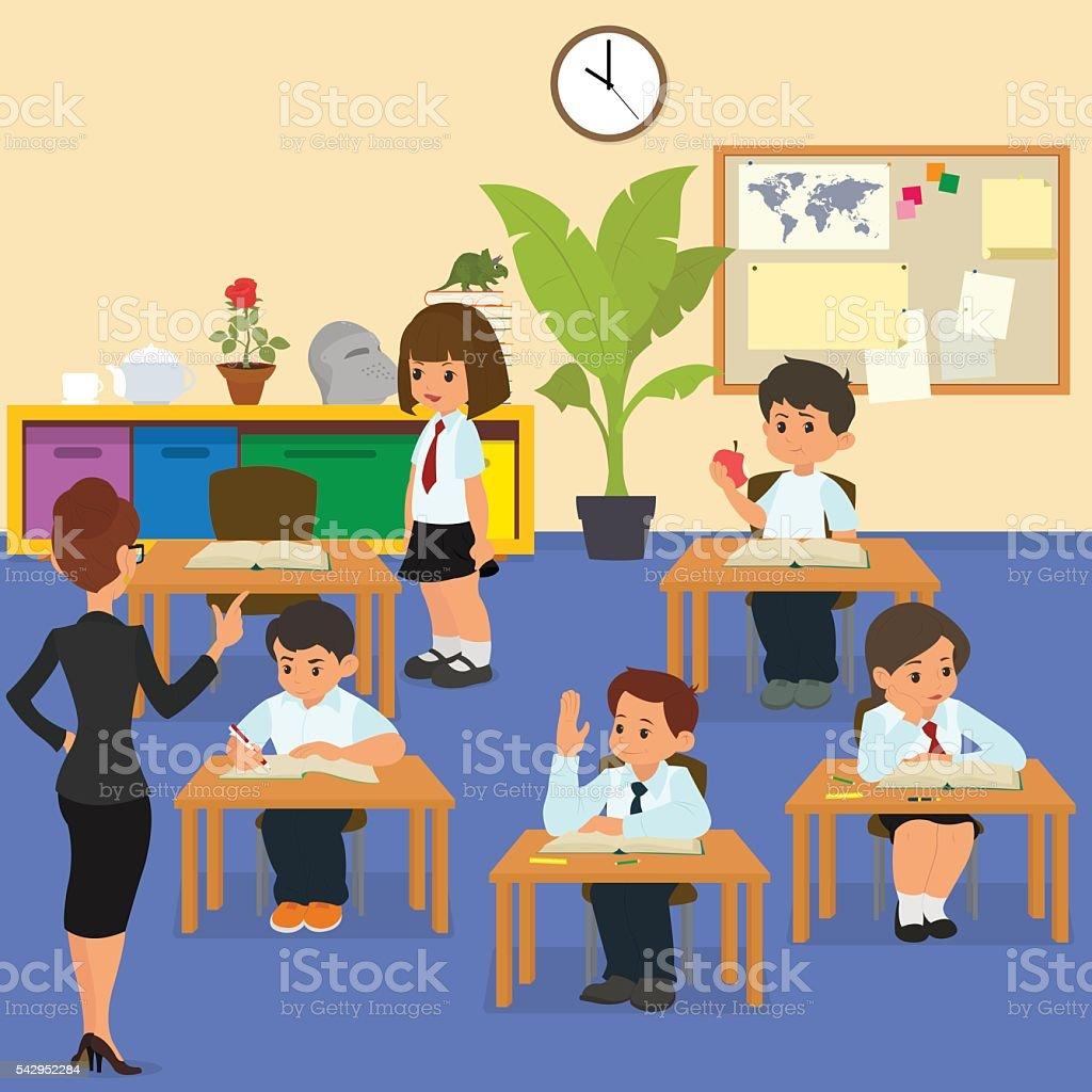 Ilustra O De Crian As Em Sala De Aula De Escola Na Aula E Mais  -> Imagens De Sala De Aula
