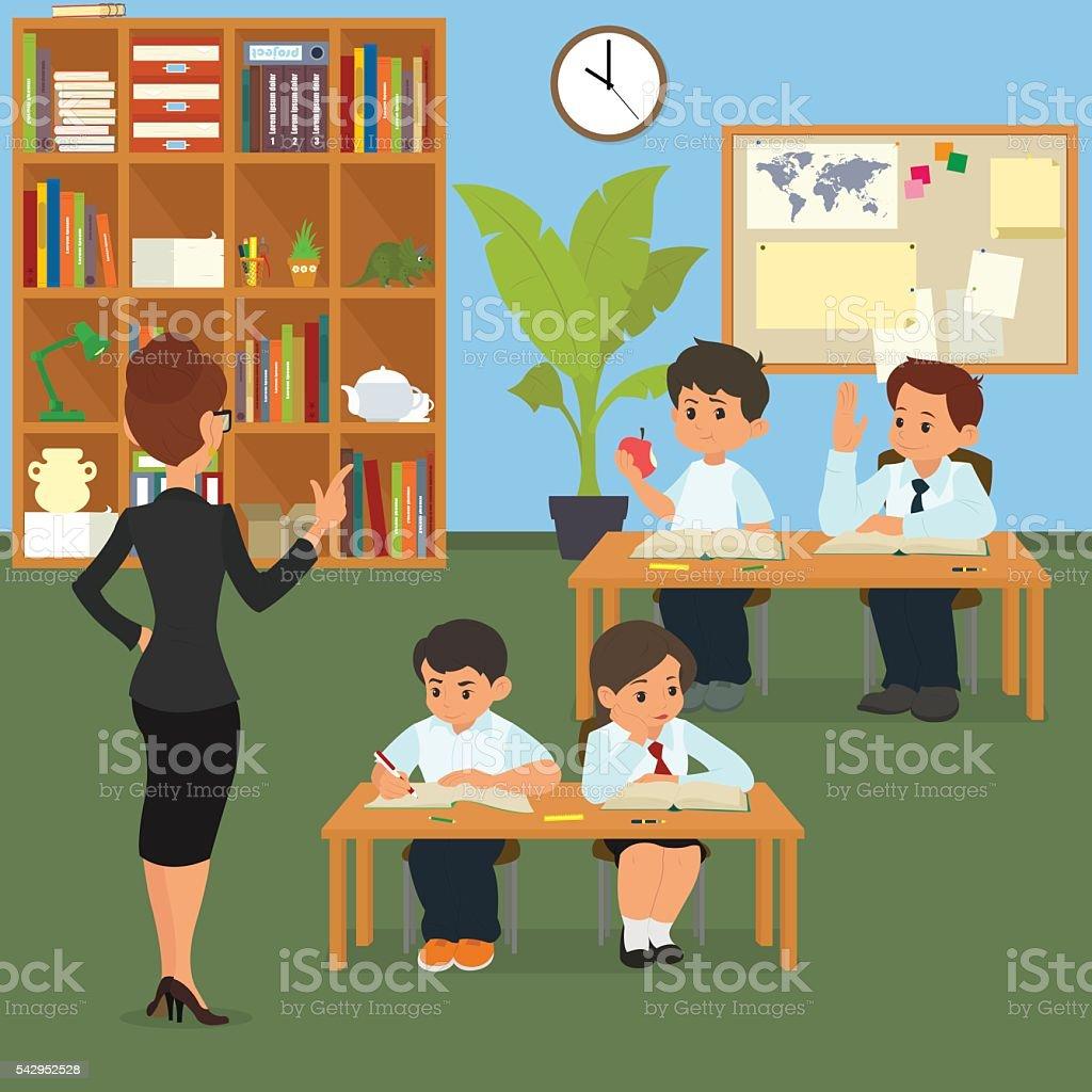 Escola De Crian As Em Sala De Aula Arte Vetorial De Stock E Mais  -> Imagens De Sala De Aula