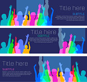 Colorful overlapping silhouettes of children in classroom as a Banner template.