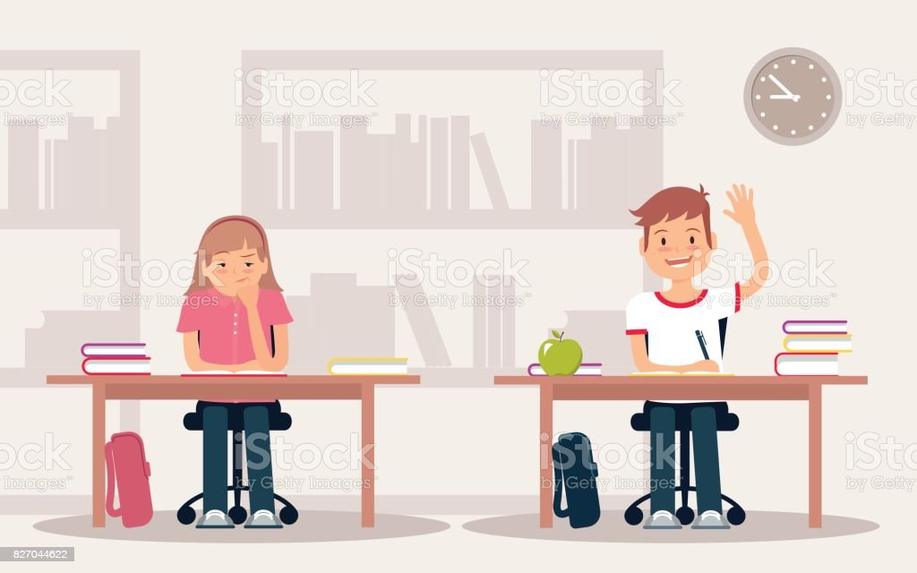 School children in classroom sitting at their desks and behaving differently. vector art illustration