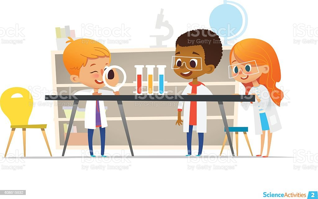 School children in lab clothing and safety glasses conduct scientific vector art illustration
