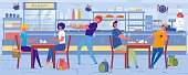 School Children, Teenage Boys and Girls Cartoon Characters in Self-service Cafe or School Eatery Interior. Classmates Communicating during Lunch Break. Catering Organization. Flat Vector Illustration.