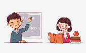 istock School children in the classroom at the lesson. Back to school vector illustration 1183675574