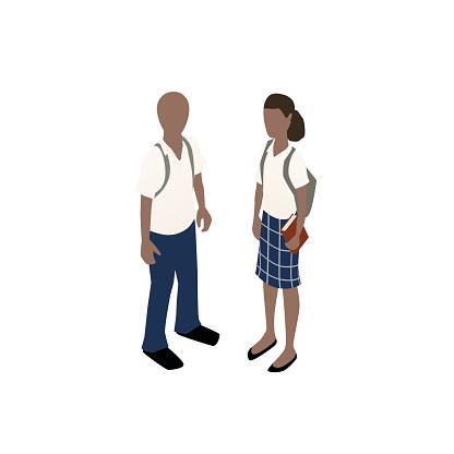 School children in uniforms illustration