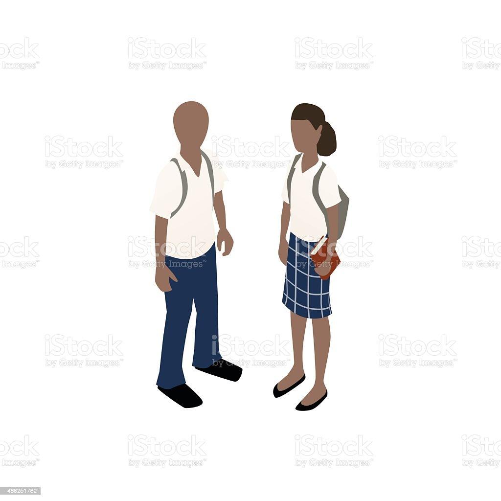 School children in uniforms illustration vector art illustration