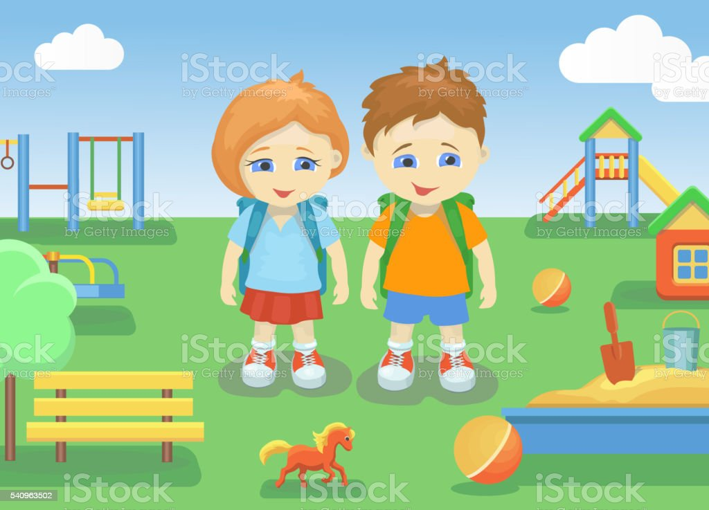 school children on a playground outdoors with bright summer background vector art illustration