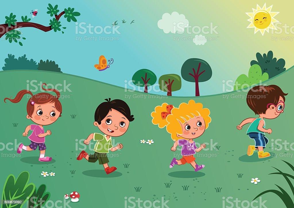 School Children Running vector art illustration