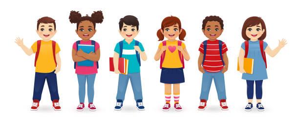 stockillustraties, clipart, cartoons en iconen met school kinderen set - schoolmeisje