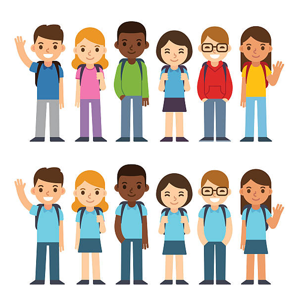 School children set Set of diverse children with backpacks in school uniform and casual clothes. Cute cartoon simple flat vector style. Back to school illustration. students stock illustrations