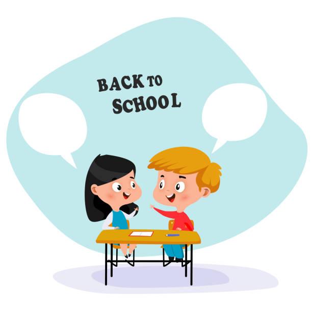 illustrazioni stock, clip art, cartoni animati e icone di tendenza di school children sit at school desk and discussing something. - two students together asian