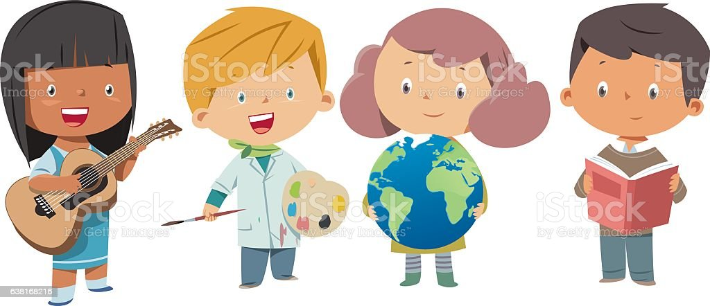 School children vector art illustration