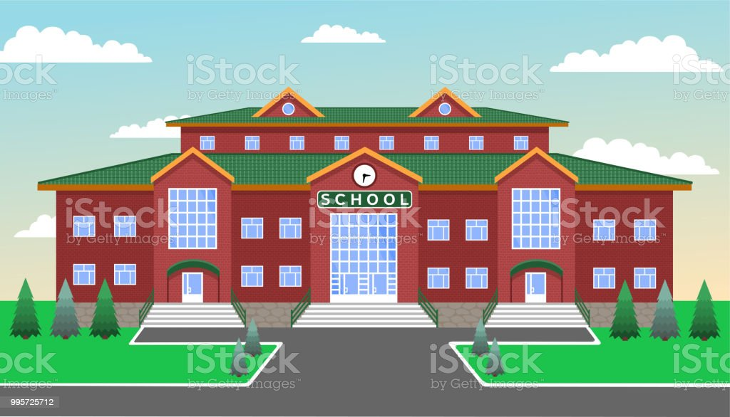 School Classic Brick Twostorey Building With Three Entrances