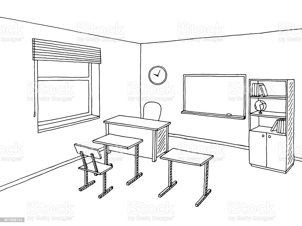 Classroom Design Sketch ~ School classroom black white graphic art interior sketch
