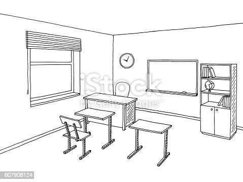 School classroom black white graphic art interior sketch illustration vector