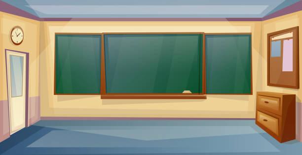 bildbanksillustrationer, clip art samt tecknat material och ikoner med skola klassrum interiör med skrivbord och styrelse. lektion. tomt universitetsrum. vector tecknad film - klassrum