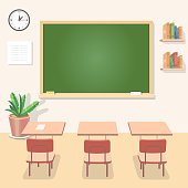 School classroom with chalkboard and desks. Class for education, board