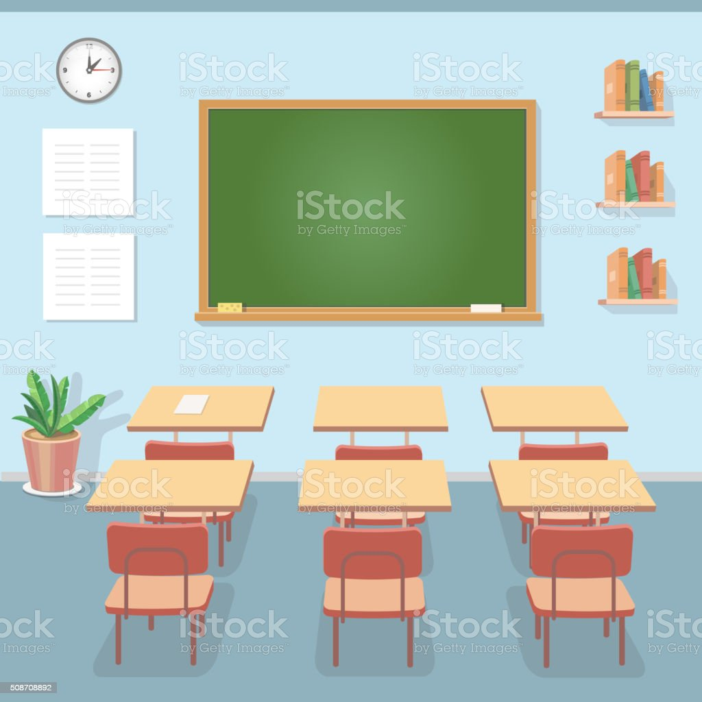 School classroom with chalkboard and desks. Class for education, courses vector art illustration