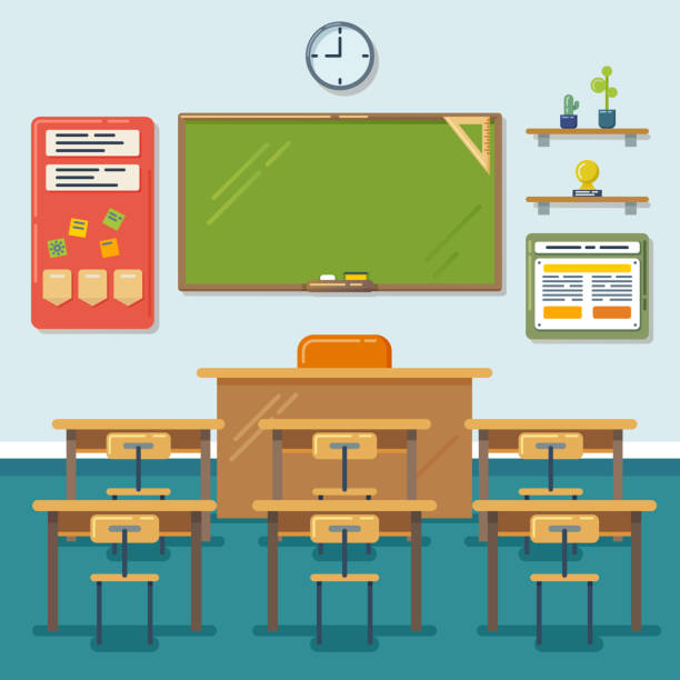 Best Empty Classroom Illustrations Royalty Free Vector