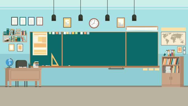 bildbanksillustrationer, clip art samt tecknat material och ikoner med skolklass rum med chalkboard. studie klass med blackboard och teachers desk. vektor - klassrum