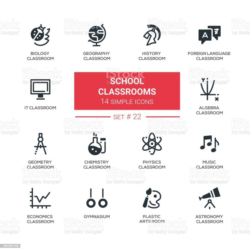 Klassenzimmer Moderne Einfache Symbole Piktogramme Set Stock Vektor ...