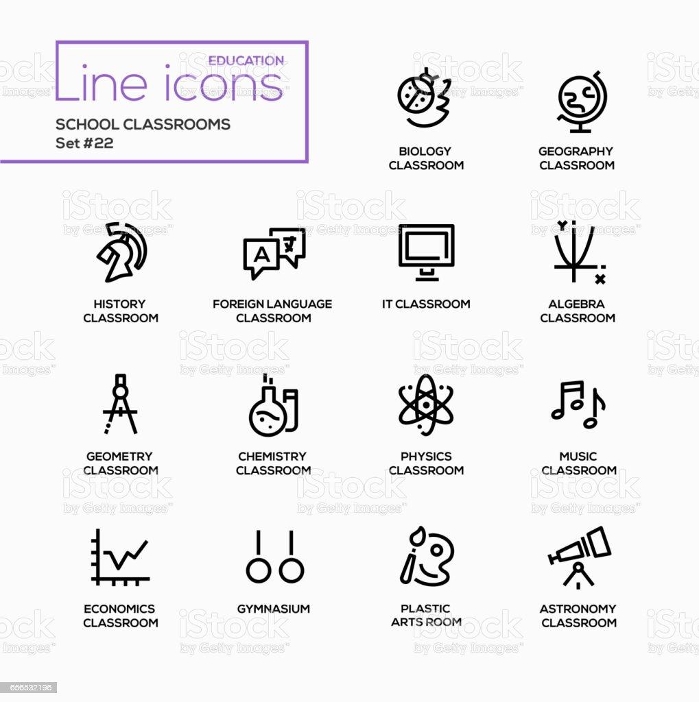 Escola salas de aula - vetor moderno conjunto de ícones de única linha. - ilustração de arte em vetor