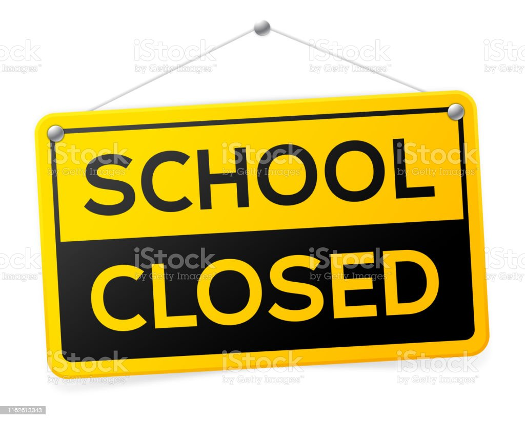 School Closed Sign School closed hanging sign. Alertness stock vector