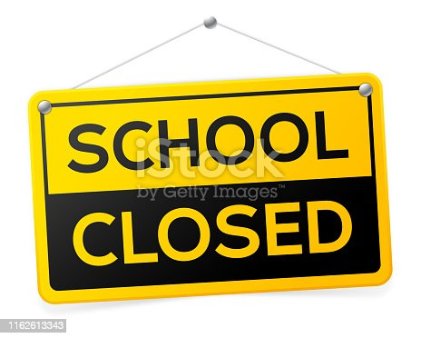 School closed hanging sign.