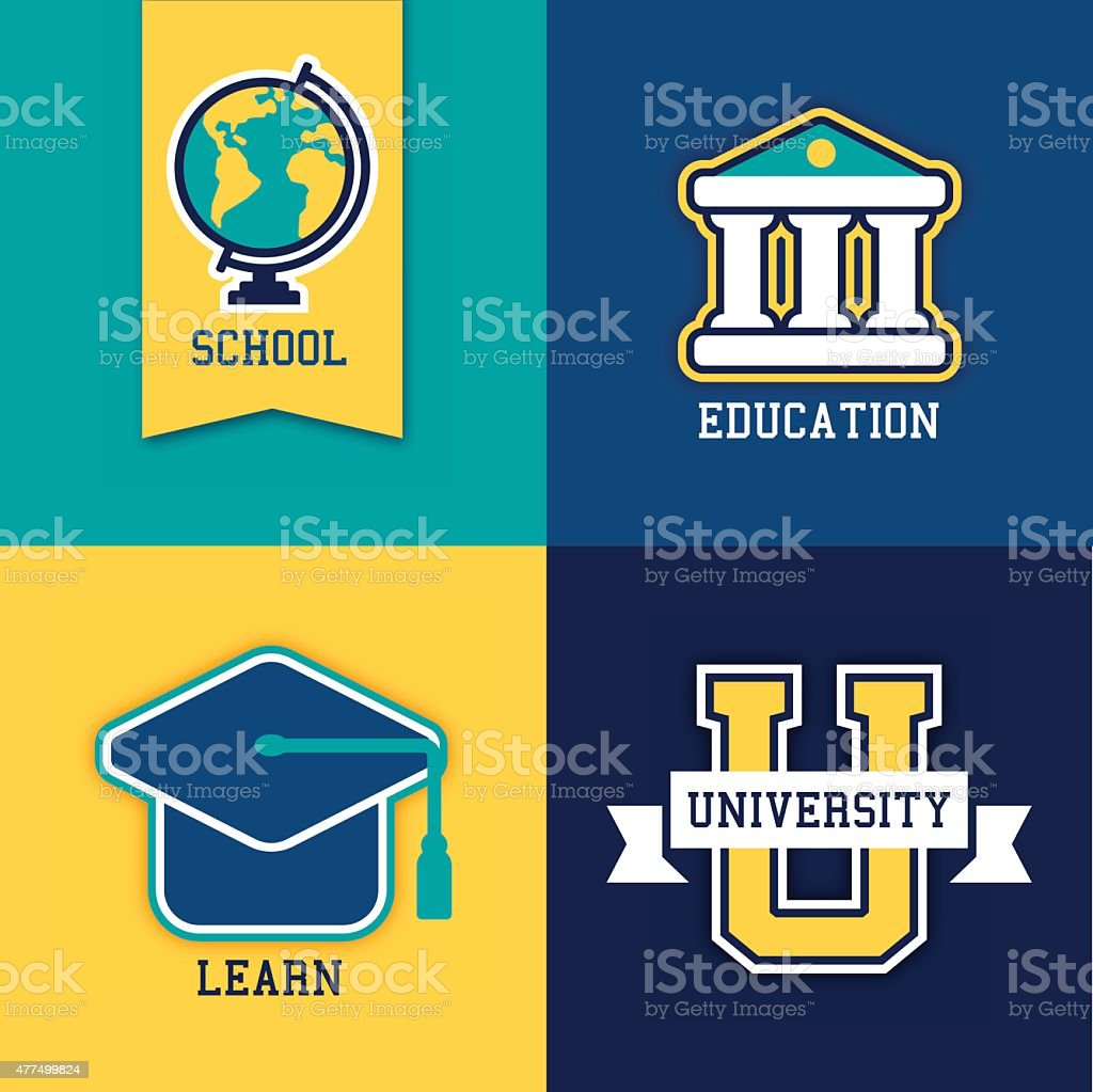 School College and University Symbols vector art illustration