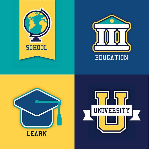 ilustraciones, imágenes clip art, dibujos animados e iconos de stock de escuela college y la universidad de símbolos - escuela media