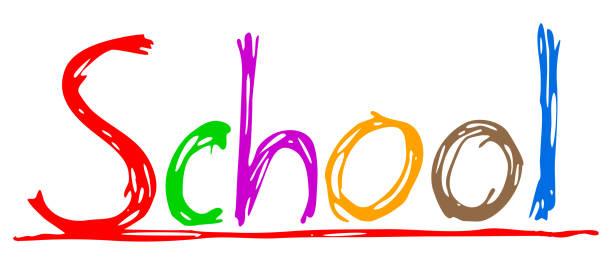 Farbiger Text Handzeichnung Schule – Vektor auf Lager – Vektorgrafik