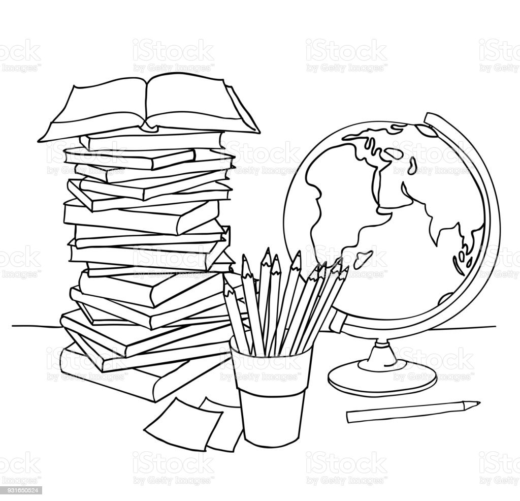 Ilustración de Página Para Colorear De La Escuela y más banco de ...