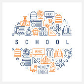 School Concept - Colorful Line Icons, Arranged in Circle