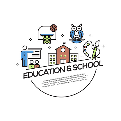 School Concept Flat Line Icons