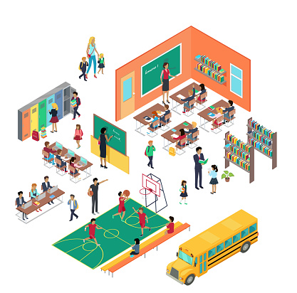 School Concept in Isometric Projection Vector