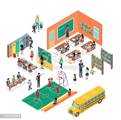 School conceptual vector in isometric projection. 3d illustrations of school premises with pupils and teachers. Classes, library, corridor,  gym, school bus. For education concept, infographic, games