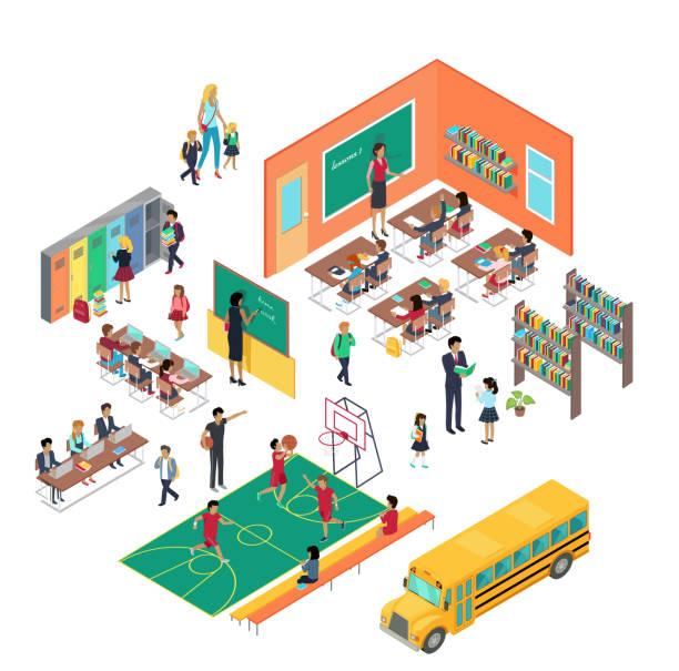 等角投影ベクトルにおける学校概念 - アイソメトリック点のイラスト素材/クリップアート素材/マンガ素材/アイコン素材